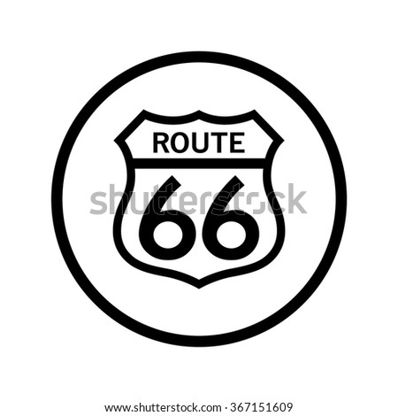 Route 66 Sign in a Circle - stock vector