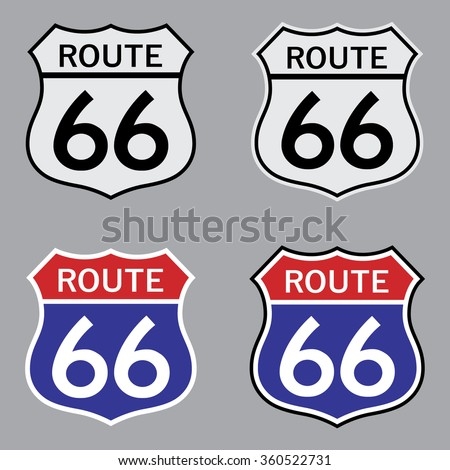 Route 66 Sign Set . Vector illustration - stock vector