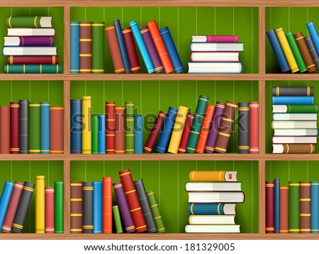 Row and stack of colorful books on shelf, vector illustration background