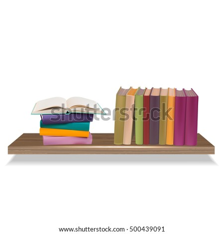 Row and stack of colorful books on shelf, vector illustration white background