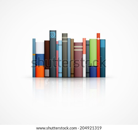 row of books on white background eps10 vector illustration