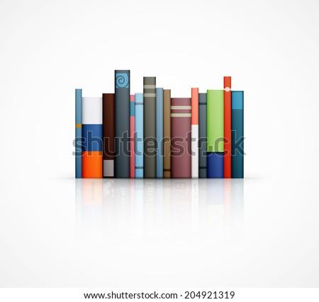 row of books on white background eps10 vector illustration - stock vector