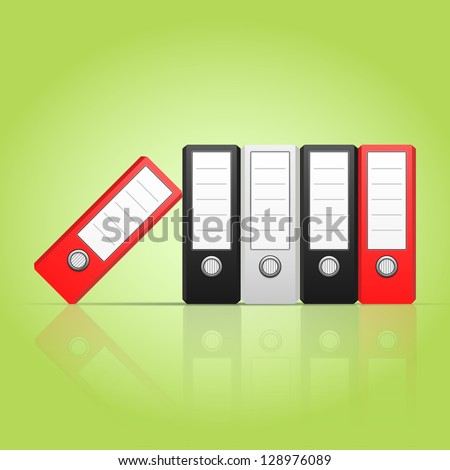 Row of color binders vector, red, gray, black. Illustration of Office folders for documents stacked vertically, eps 10 - stock vector