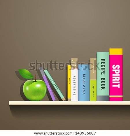 Row of colorful books and green apple on shelf, vector illustration - stock vector