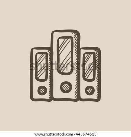 Row of folders vector sketch icon isolated on background. Hand drawn Row of folders icon. Row of folders sketch icon for infographic, website or app. - stock vector