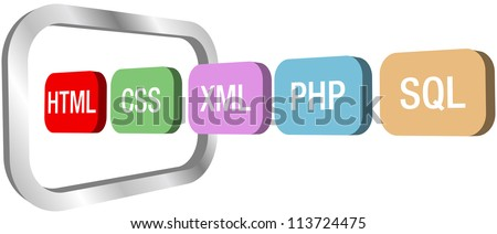 Row of HTML CSS PHP and other web development element icons move into a symbol of a computer monitor - stock vector