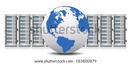 Row of Network Servers with Globe - Information technology conceptual image - The Globe base map is from NASA and Hand Drawn using the pen tool for maximum detail - stock vector