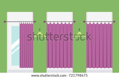 Row Of Vacant Fitting Rooms In A Clothing Shop One Room With Open Curtain