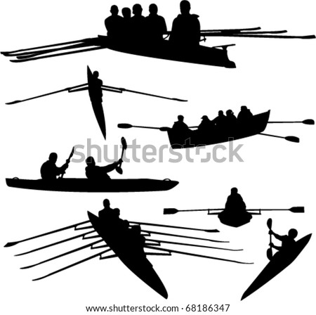 rowing collection - vector - stock vector