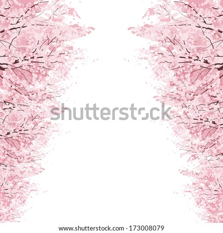 Rows of Beautiful Cherry Blossom trees.File contains Clipping mask, Gradients. - stock vector
