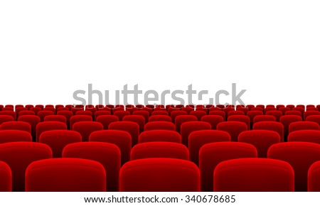 Rows of Cinema or Theater Red Seats - stock vector
