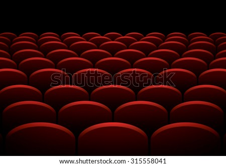 Rows of cinema or theater red seats, vector background - stock vector