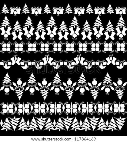Rows of Isolated Christmas Objects on Black Background, Vector Illustration - stock vector