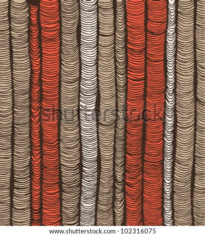 Rows of red and brown hand-drawn vertical folds - stock vector