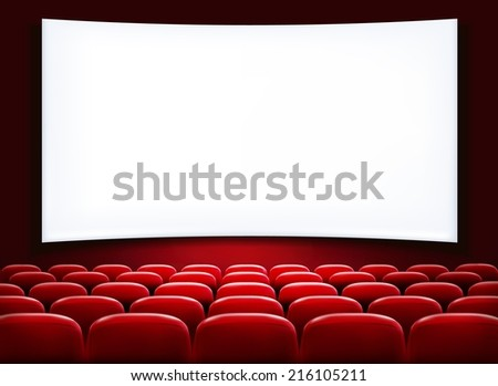 Rows of red cinema or theater seats in front of white blank screen. Vector. - stock vector