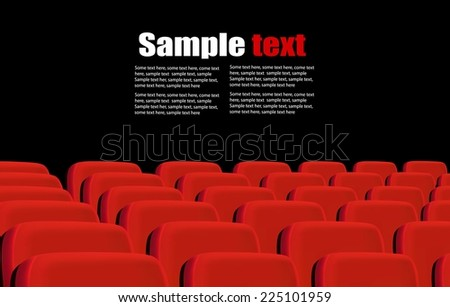 Rows of red cinema seats on a black background. Vector.