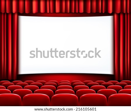 Rows of red theater seats in front of white screen surrounded by red curtains. Vector. - stock vector