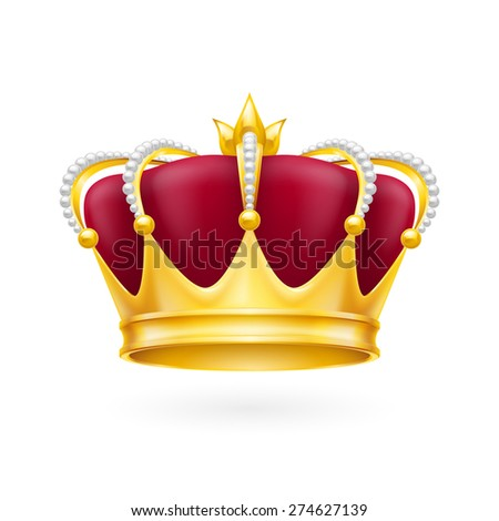 Royal attribute golden crown isolated on the white background for design - stock vector