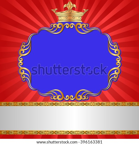 royal background with antique frame and crown