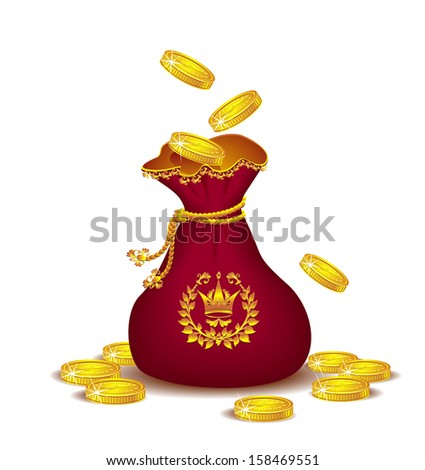 Royal bag with gold coins or  Concept of profit  - stock vector