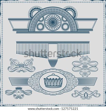 royal banner element engraving monogram - stock vector