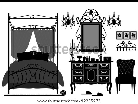 Royal Bedroom Room Old Antique Victorian Furniture - stock vector