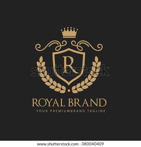luxurious logoboutique brandreal estatepropertyroyaltycrown logocrest logovector stock vector. Black Bedroom Furniture Sets. Home Design Ideas