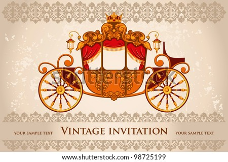 Royal carriage with  horse on the grunge background - stock vector
