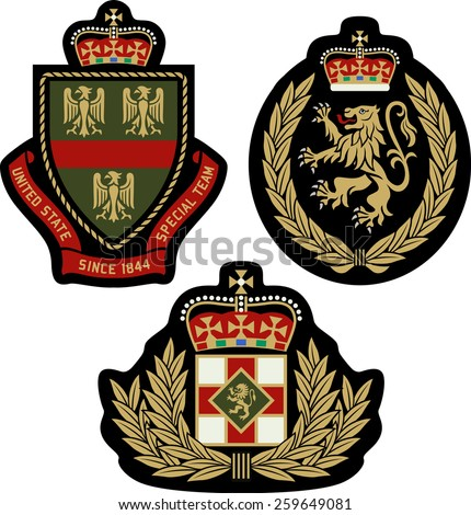 royal classic heraldic emblem badge shield - stock vector