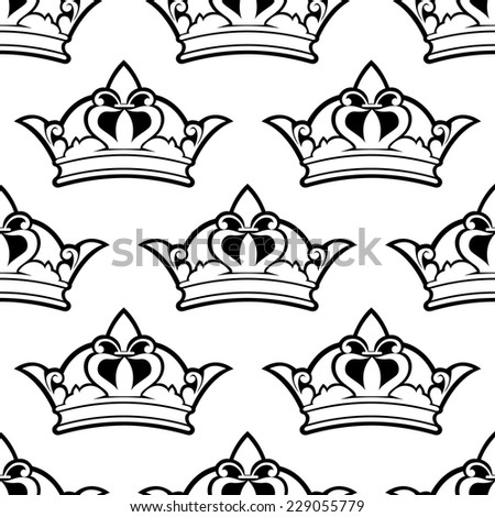 Royal crown seamless background pattern with a black and white outline vector motif in square format for wallpaper, textile or wrapping paper - stock vector