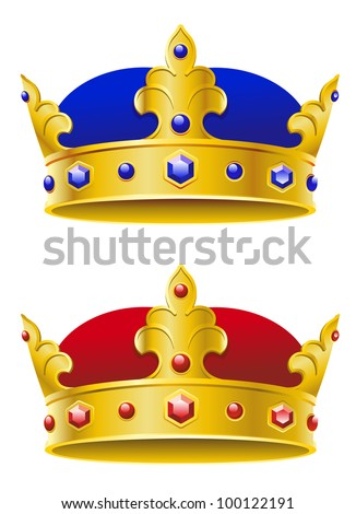 Royal crowns isolated on white background for heraldry design, such logo. Jpeg version also available in gallery - stock vector
