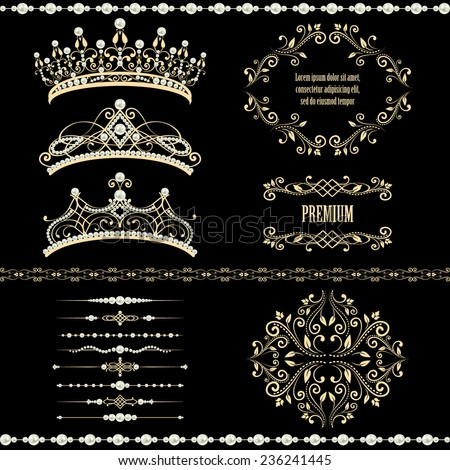 Royal design elements, vintage frames with dividers, borders, pearls and  diadems in golden beige. Vector illustration. Isolated on black background. can use for birthday card, wedding invitations.