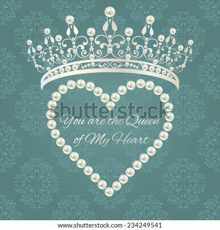 Royal design template. Elements are layered separately in vector. Easy editable. Love valentine card. Damask pattern in grey blue color with tiara, heart of pearls and text.  - stock vector