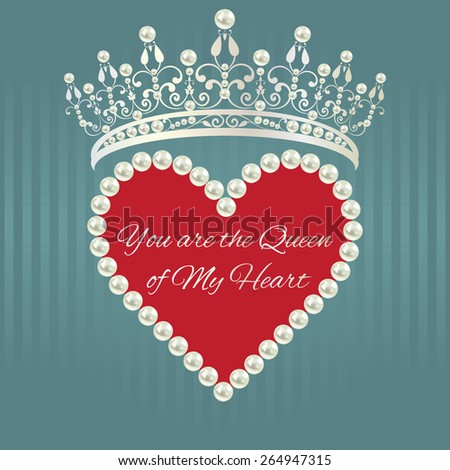 Royal design template. Elements are layered separately in vector. Easy editable. Love valentine card. Linear pattern in grey blue color with tiara, heart of pearls with red background and text.  - stock vector