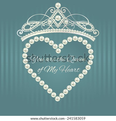 Royal design template. Love valentine card. Linear pattern in gray blue color with tiara, heart of pearls and text.  Elements are layered separately in vector. Easy editable. - stock vector