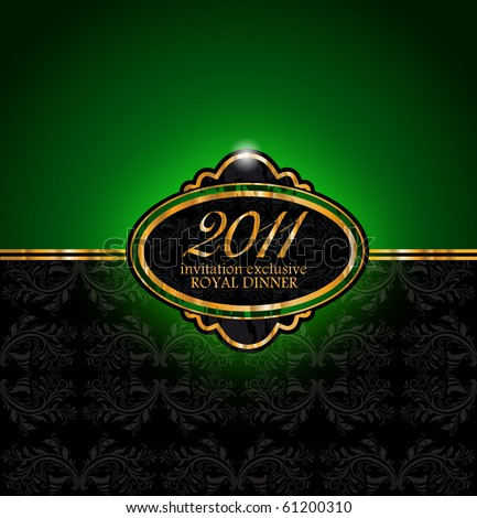 Royal Dinner Invitation Flyer for 2011 New Year Event - stock vector