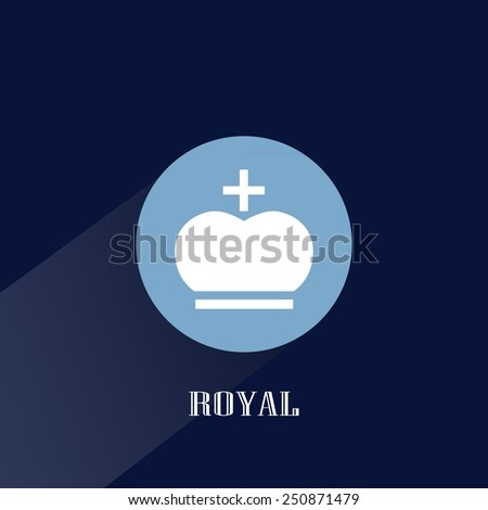 Royal flat design blue color icon with crown in circle badge with long shadow isolated on dark blue background art - stock vector