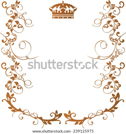 Royal floral frame with crown isolated on white background gold color - stock vector