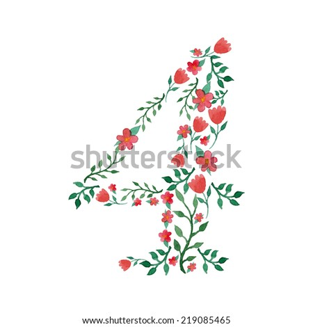 Royal floral number 4 hand drawn with watercolor - stock vector
