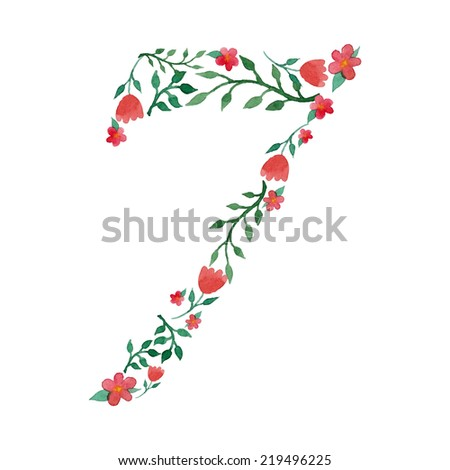 Royal floral number 7 painted with watercolor - stock vector