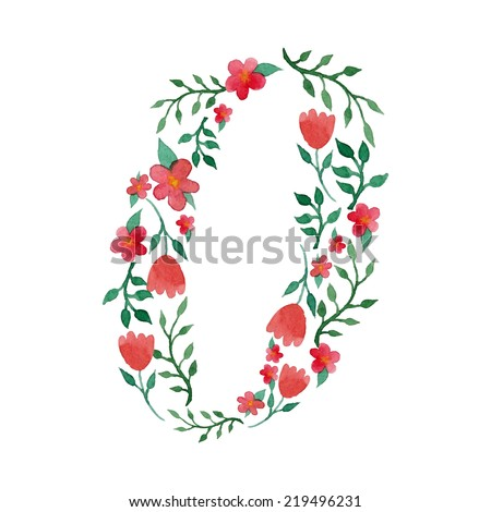 Royal floral number 0 painted with watercolor - stock vector
