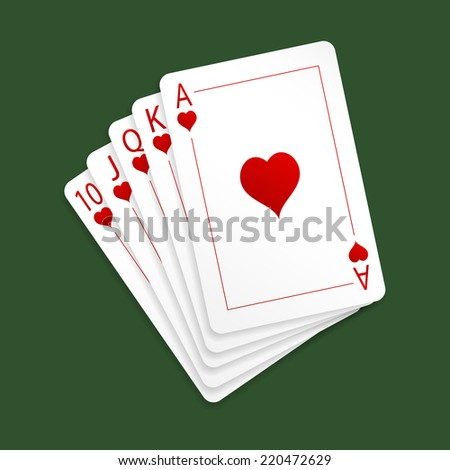 Royal flush playing cards. Heard suit. Isolated on green background. Vector illustration, eps 10.
