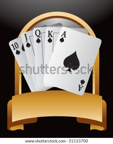 royal flush playing cards on gold crest - stock vector