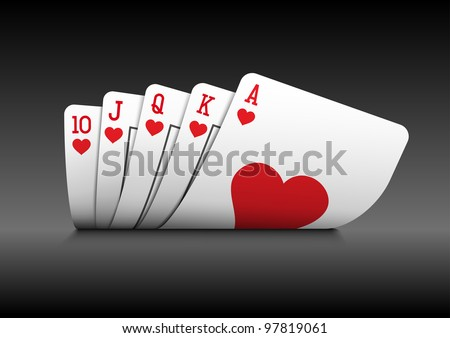 Royal flush playing cards poker hand on black background. - stock vector