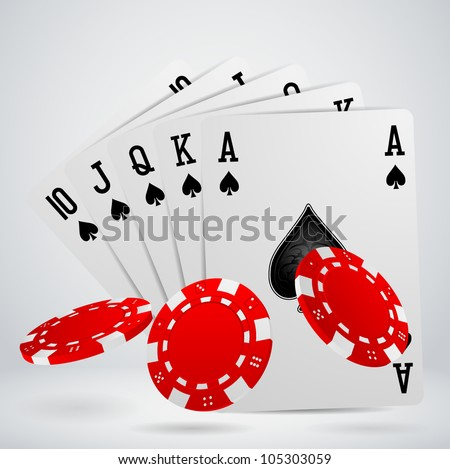 royal flush playing cards with chips - stock vector