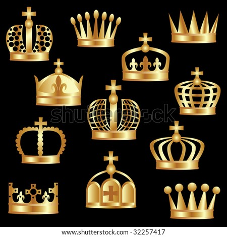 Royal gold crown as a power symbol. - stock vector