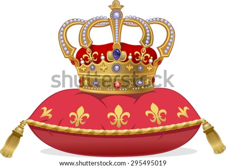 Royal Gold Crown on the pillow - stock vector