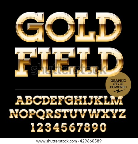 Royal golden set of alphabet letters, numbers and punctuation symbols. Vector luxury logotype with text Goldfield - stock vector