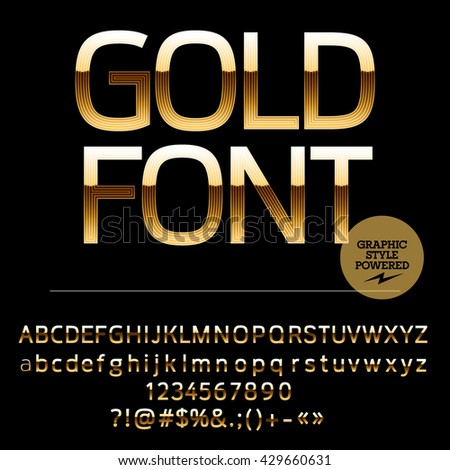 Royal golden set of alphabet letters, numbers and punctuation symbols. Vector luxury logotype with text Gold font - stock vector