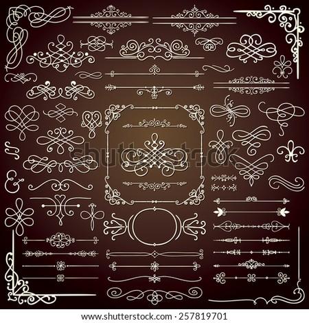 Royal Hand Drawn Doodle Design Elements. Frames, Borders, Swirls. Vector Illustration - stock vector